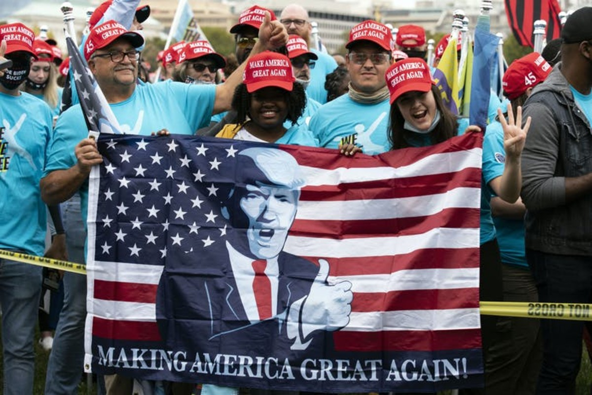 Trump supporters selected to attend his campaign rally at the White House on October 10, 2020. Jose Luis Magana/AP