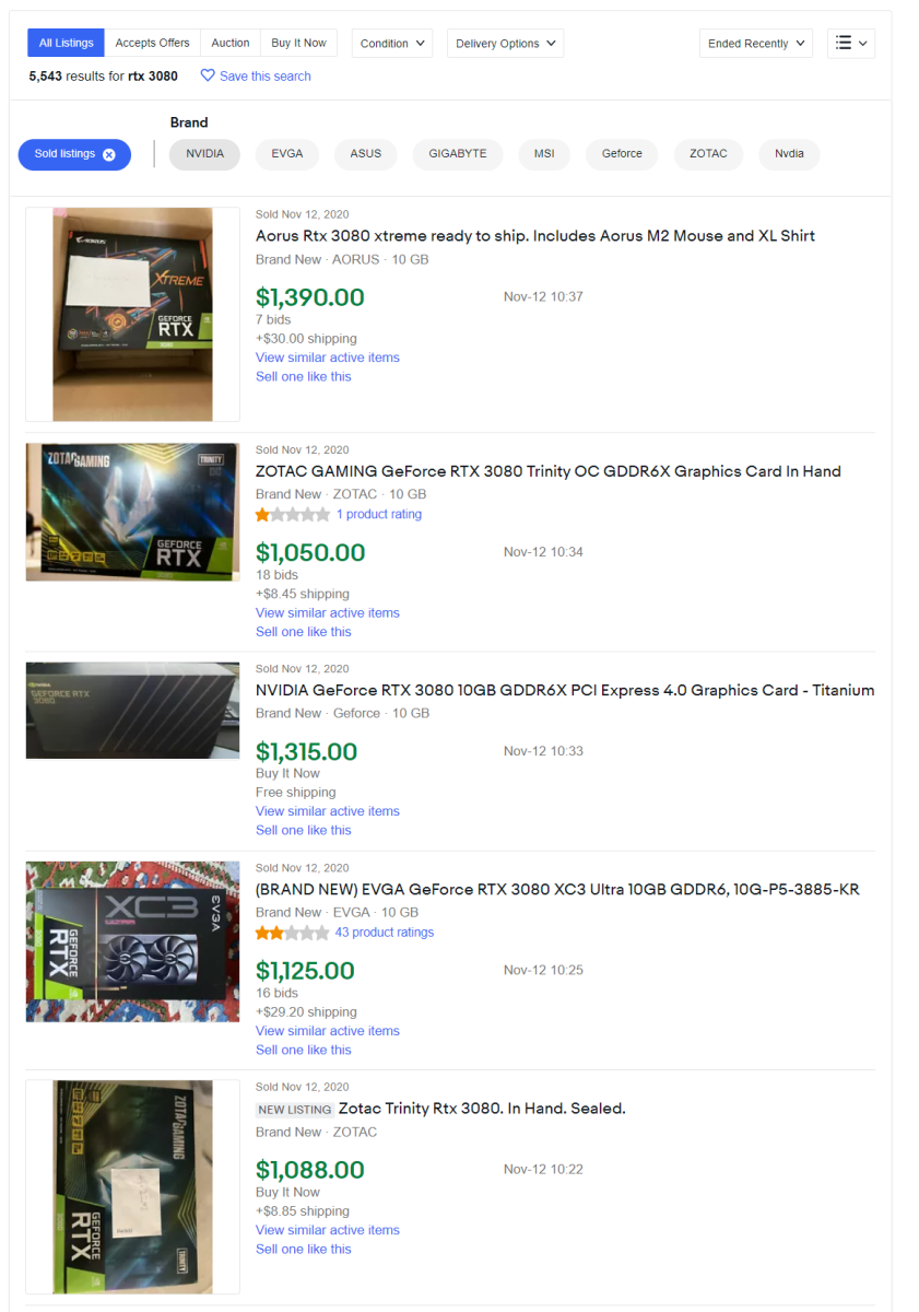 Recent aftermarket sales of graphics cards featuring Nvidia's RTX 3080 GPU. Source: eBay.
