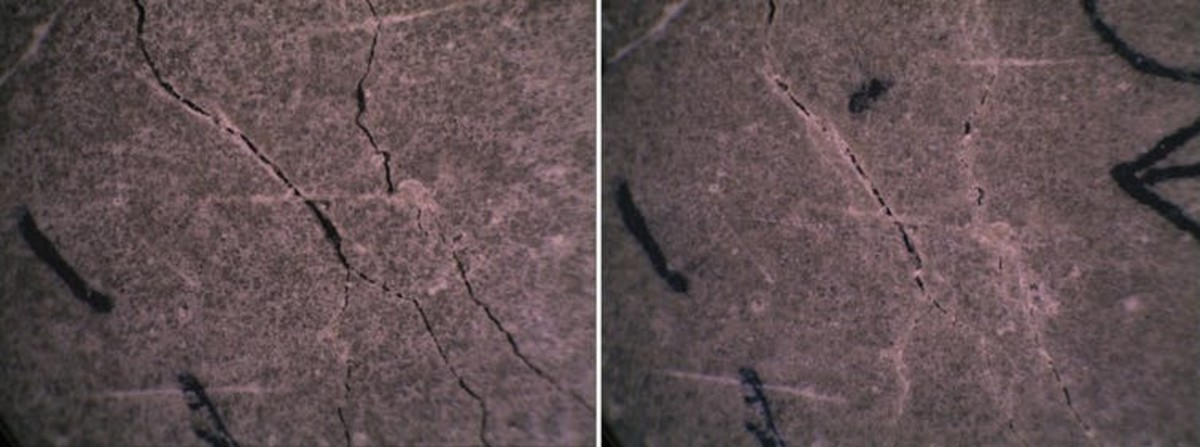 Self-healing concrete test study with cracked concrete (left) and self-healed concrete after 28 days (right). SMART Lab/Purdue University, CC BY-ND