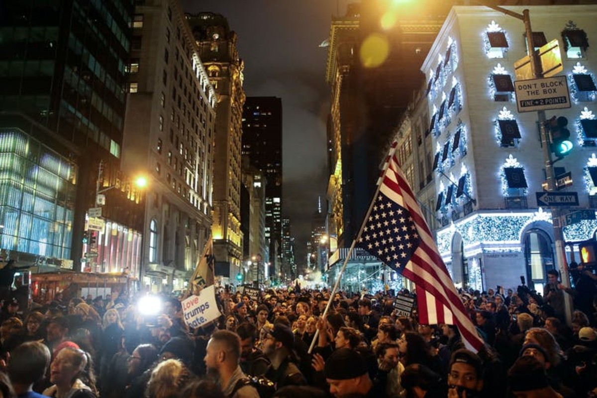 New York City erupted in protest when Trump was declared winner of the 2016 election, with demonstrations centering on Trump Tower on Fifth Ave. Drew Angerer/Getty Images