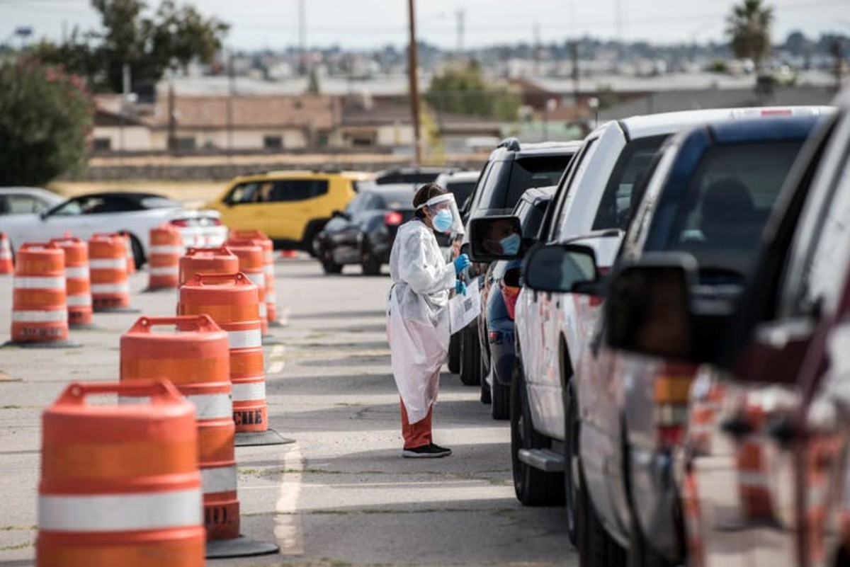 People wait in their cars at a coronavirus testing site in El Paso, Texas, that has reported record numbers of active coronavirus cases. Cengiz Yar/Getty Images