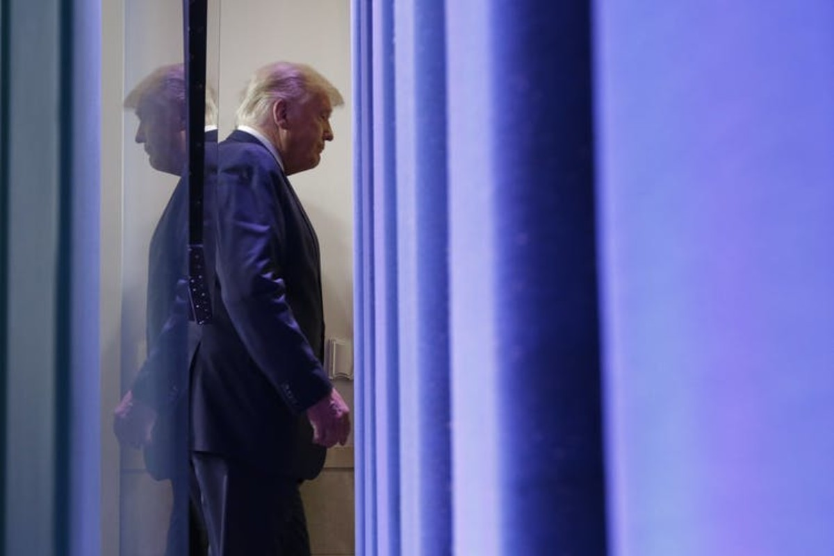 President Trump leaves a Nov. 5, 2020, press conference at which he alleged the election had been rigged and stolen. Chip Somodevilla/Getty Images