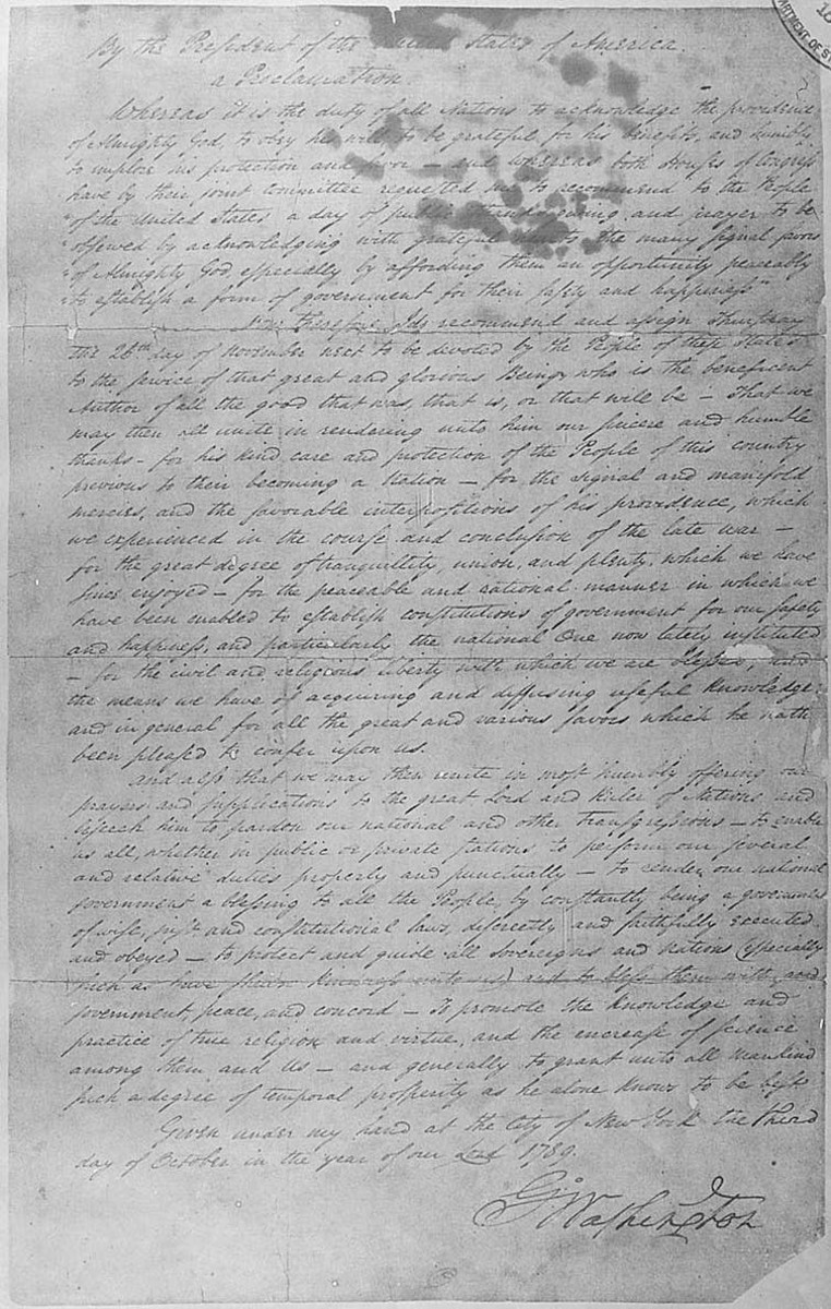 George Washington's Oct. 3, 1789, Thanksgiving Day Proclamation. National Archives
