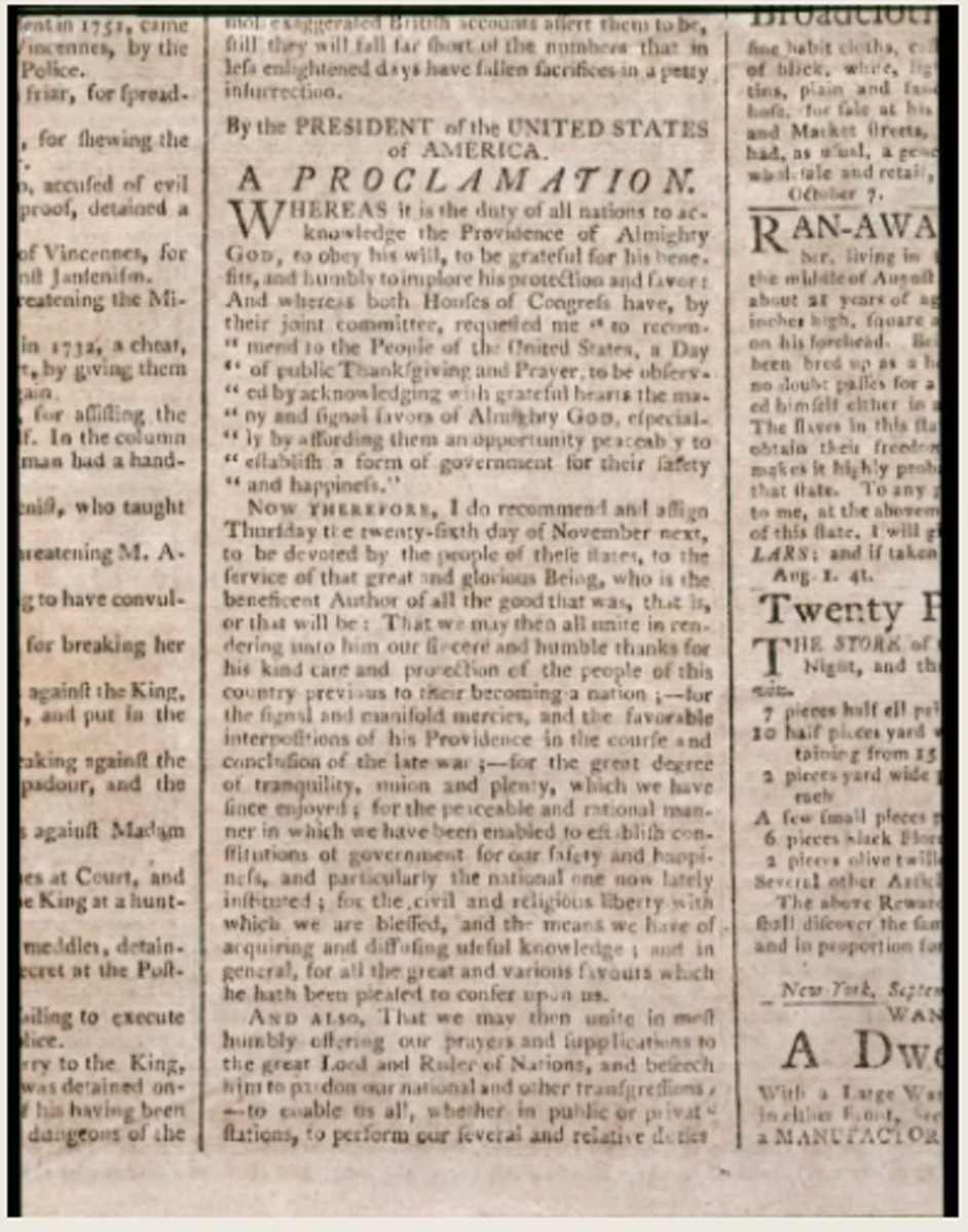 Washington's proclamation was printed in newspapers throughout the country. George Washington's Mt. Vernon