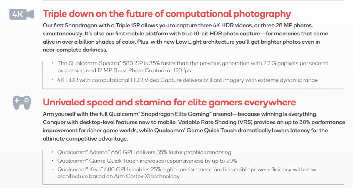 An excerpt from Qualcomm's Snapdragon 888 product brief. Source: Qualcomm.
