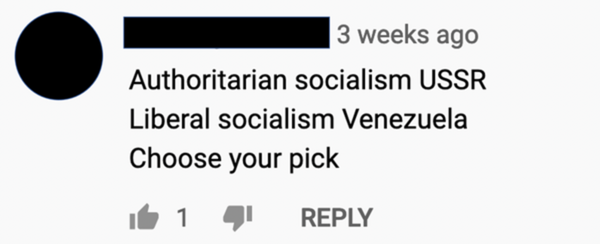 A YouTube commenter uses a megaphone-like approach to preach about the perils of socialism. Screen shot by Robert Kozinets