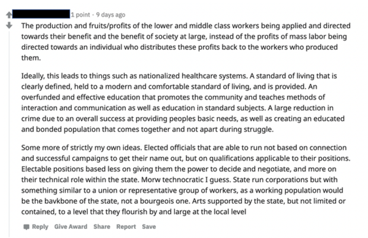 This Reddit post explores the benefits of changes that some might label as socialist. Screen shot by Robert Kozinets.