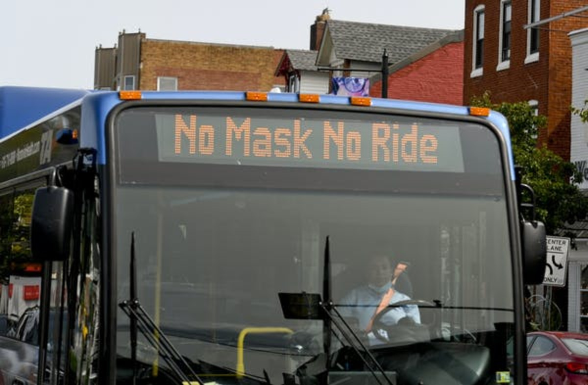 A bus reminds people 'No Masks No Ride' in September 2020. Ben Hasty/MediaNews Group/Reading Eagle via Getty Images
