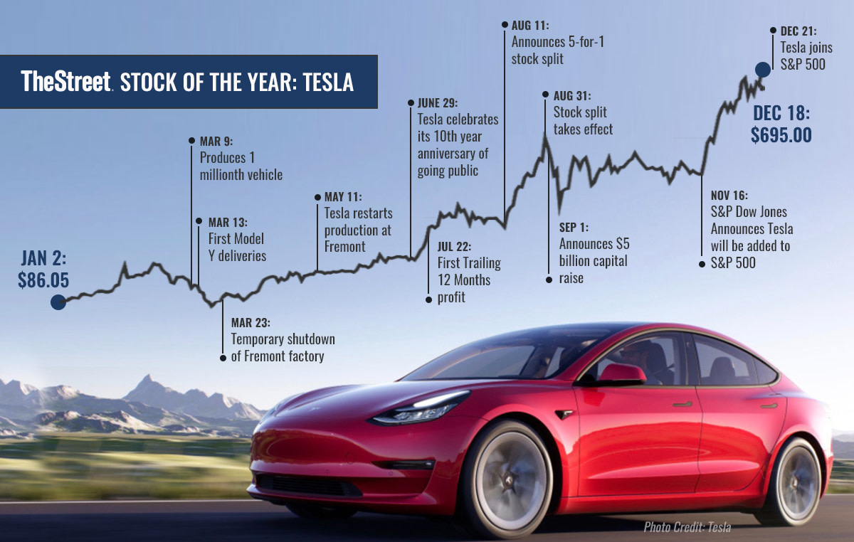 Stock of the Year Tesla Infographic