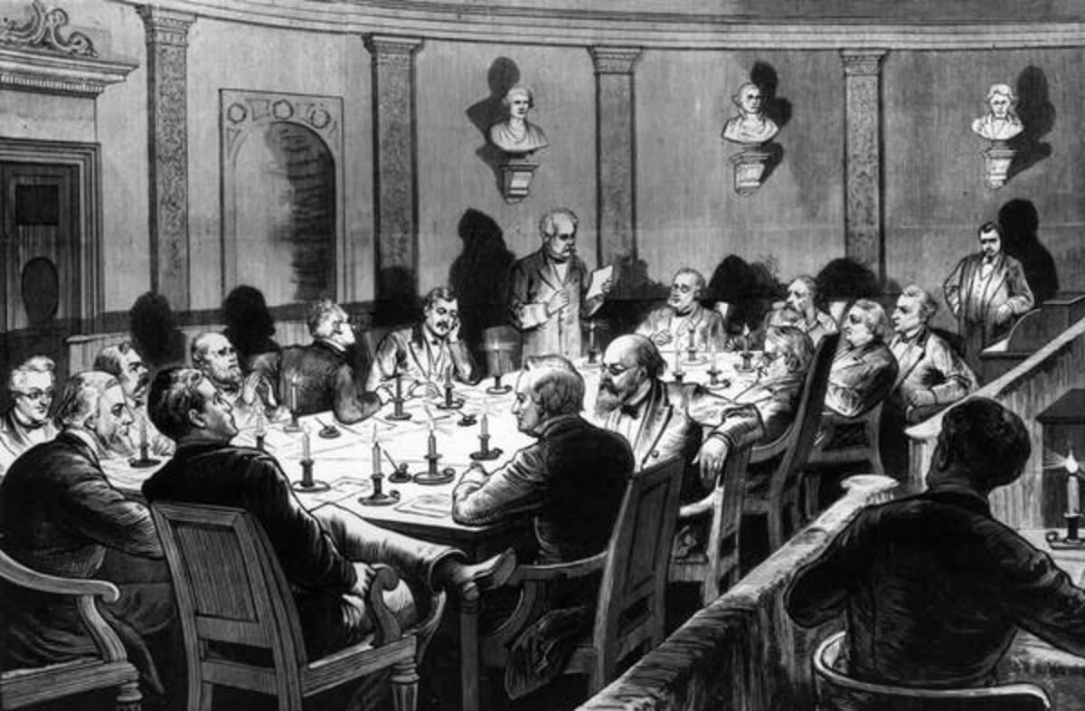 The Electoral Commission of 1877 holds a secret session by candlelight in Washington, D.C., to decide the 1876 presidential election. From Frank Leslie's Illustrated Newspaper. Photo by MPI/Getty Images