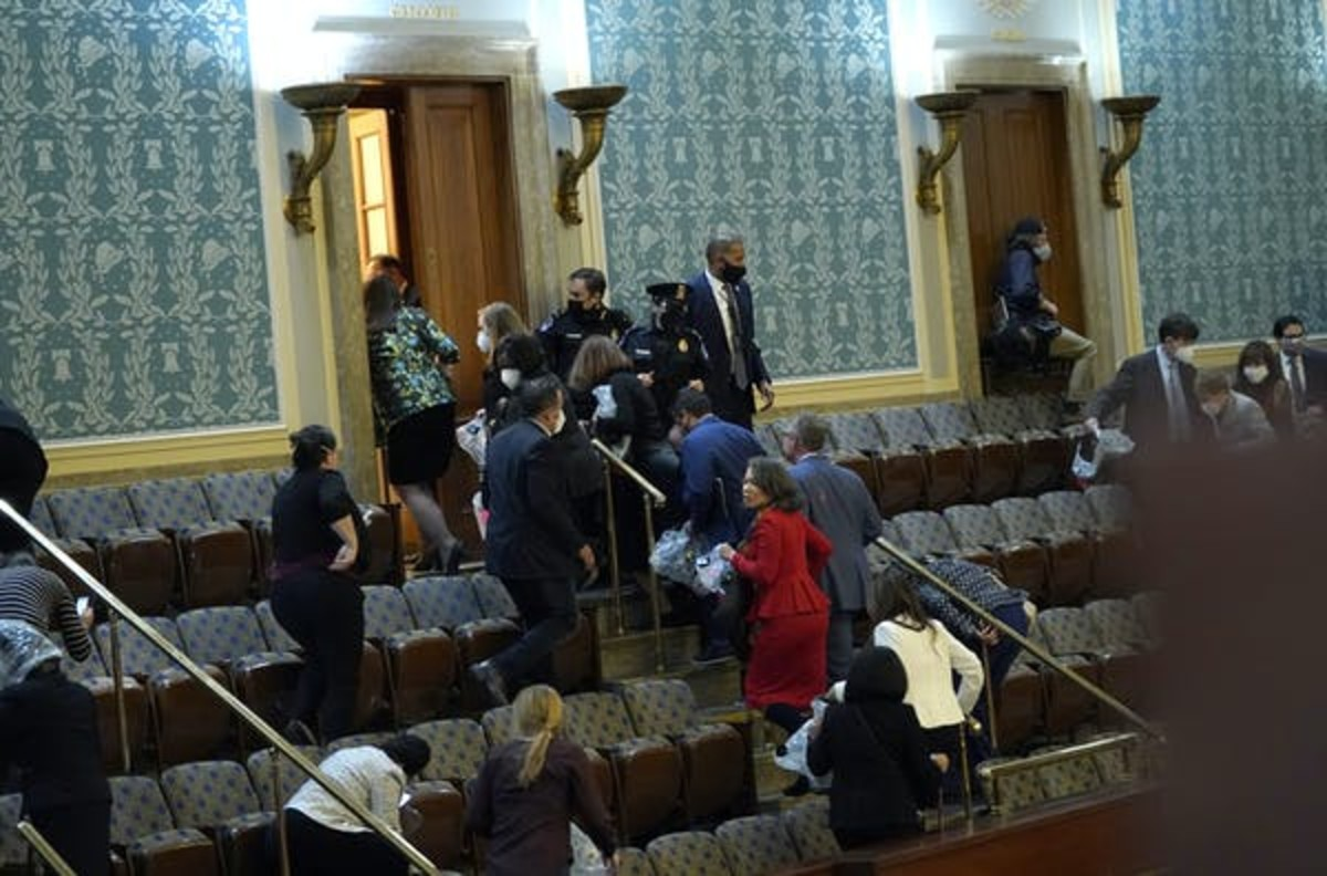 Members of Congress were forced to evacuate the House chambers to evade protesters. Drew Angerer/Getty Images via Getty Images
