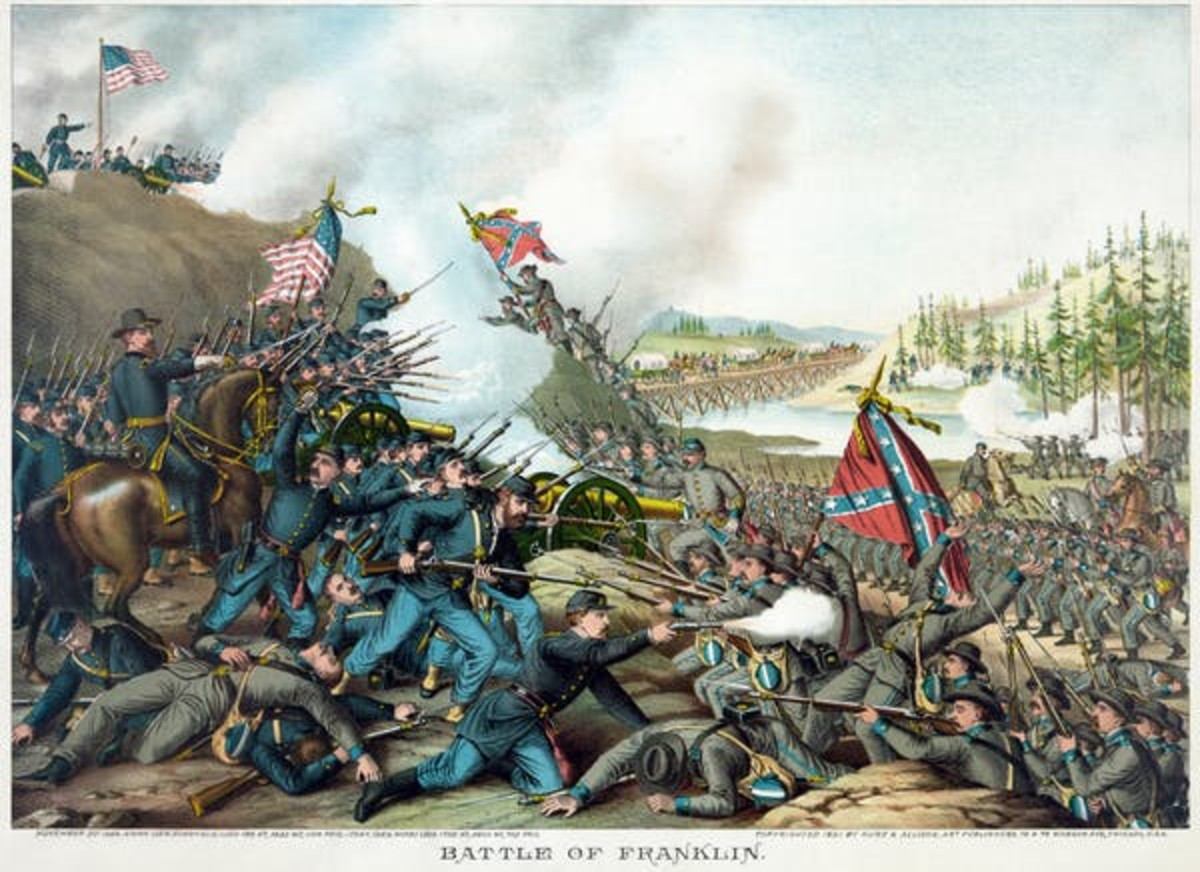 The Confederate battle flag figures prominently in this depiction of the 1864 battle of Franklin, Tennessee. Kurz and Allison, restoration by Adam Cuerden, via Wikimedia Commons