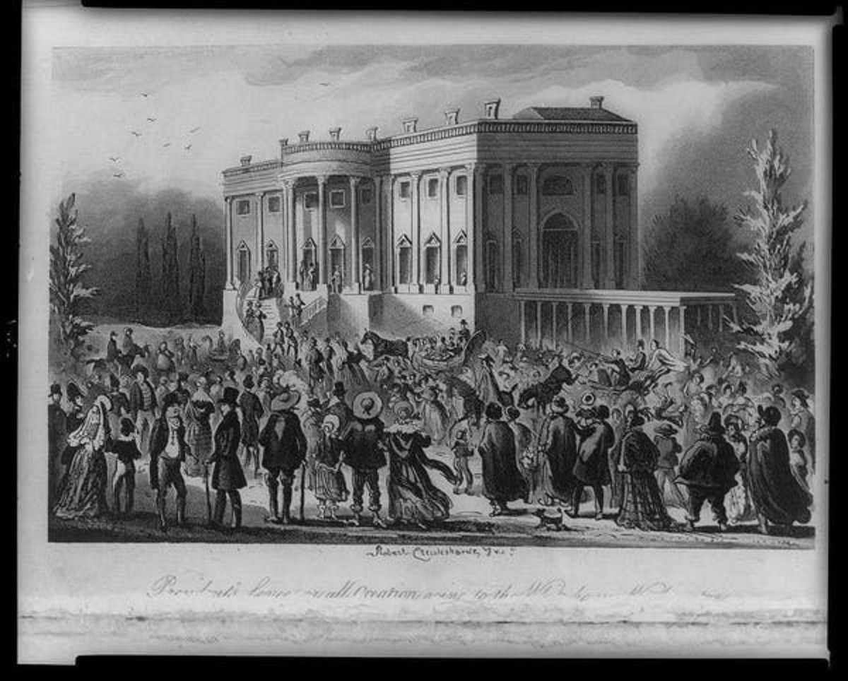 People seeking government jobs crashed the White House on the day of Andrew Jackson's inauguration. Library of Congress