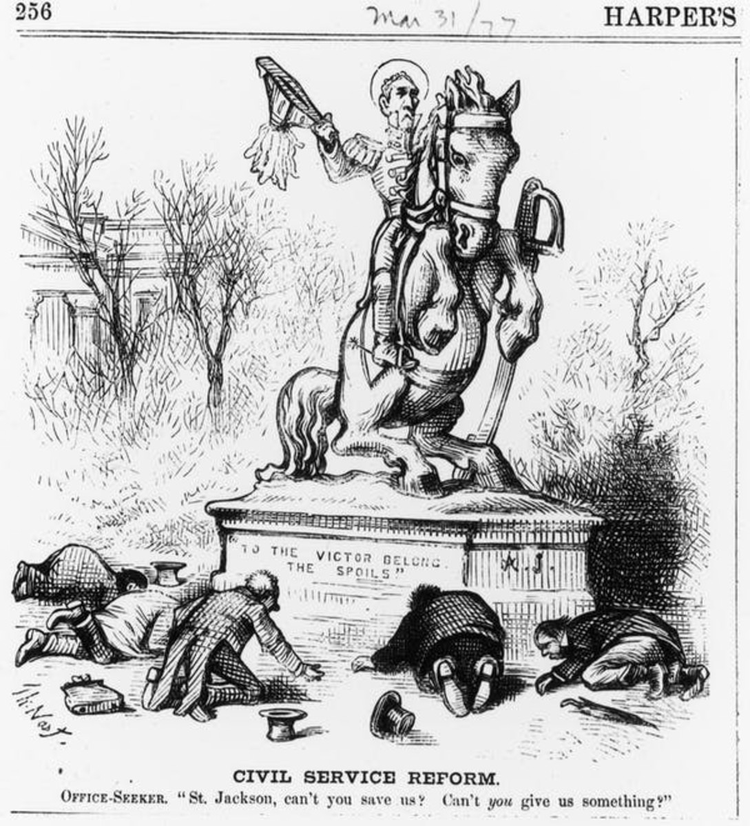 Political cartoon by Thomas Nast depicts office seekers seeking jobs from Andrew Jackson. Fotosearch/Getty Images