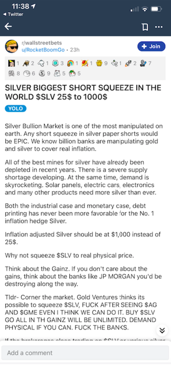 Silver discussion on the WallStreetBets Reddit board