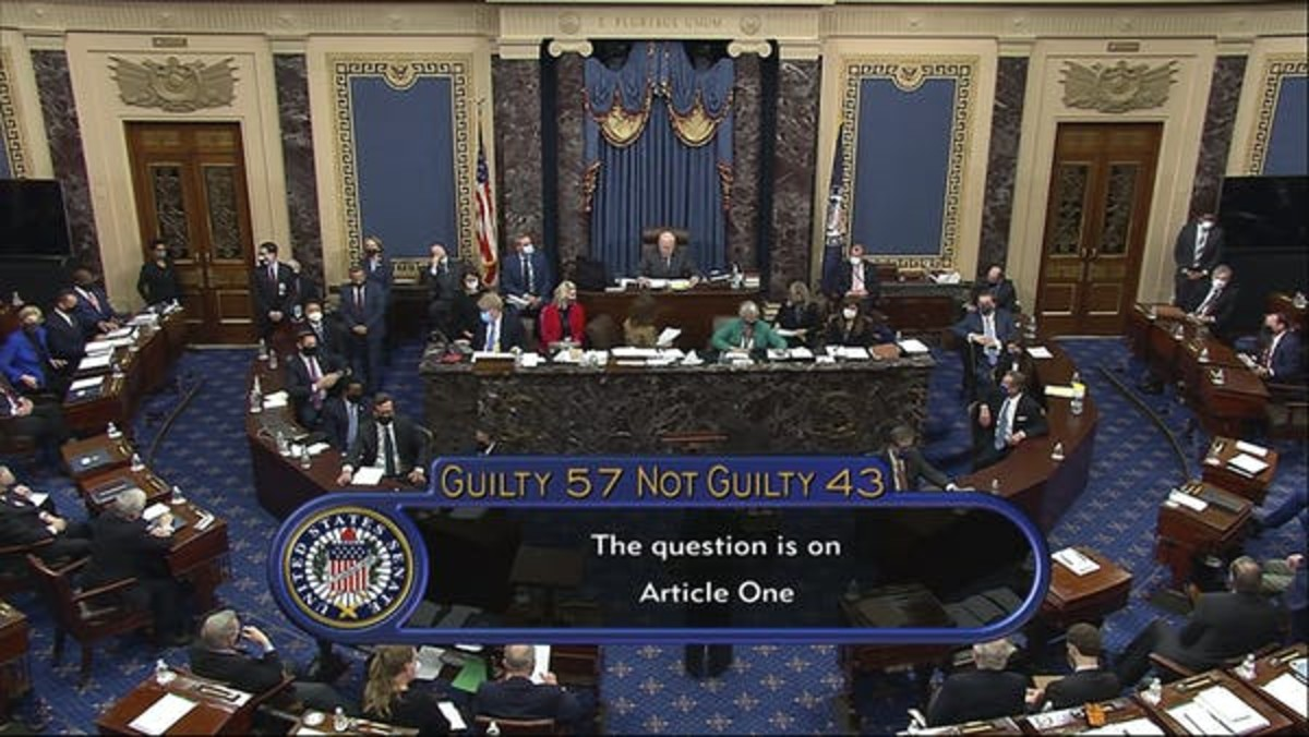 In this image from video, the final vote total of 57-43 meant an acquittal of former President Donald Trump of the impeachment charge because conviction requires a two-thirds majority vote. Senate Television via AP