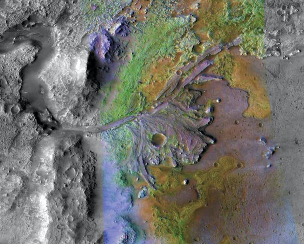 This color–enhanced photo shows the ancient river delta in the Jezero Crater where Perseverance will look for signs of life. NASA/JPL/JHU-APL/MSSS/Brown University