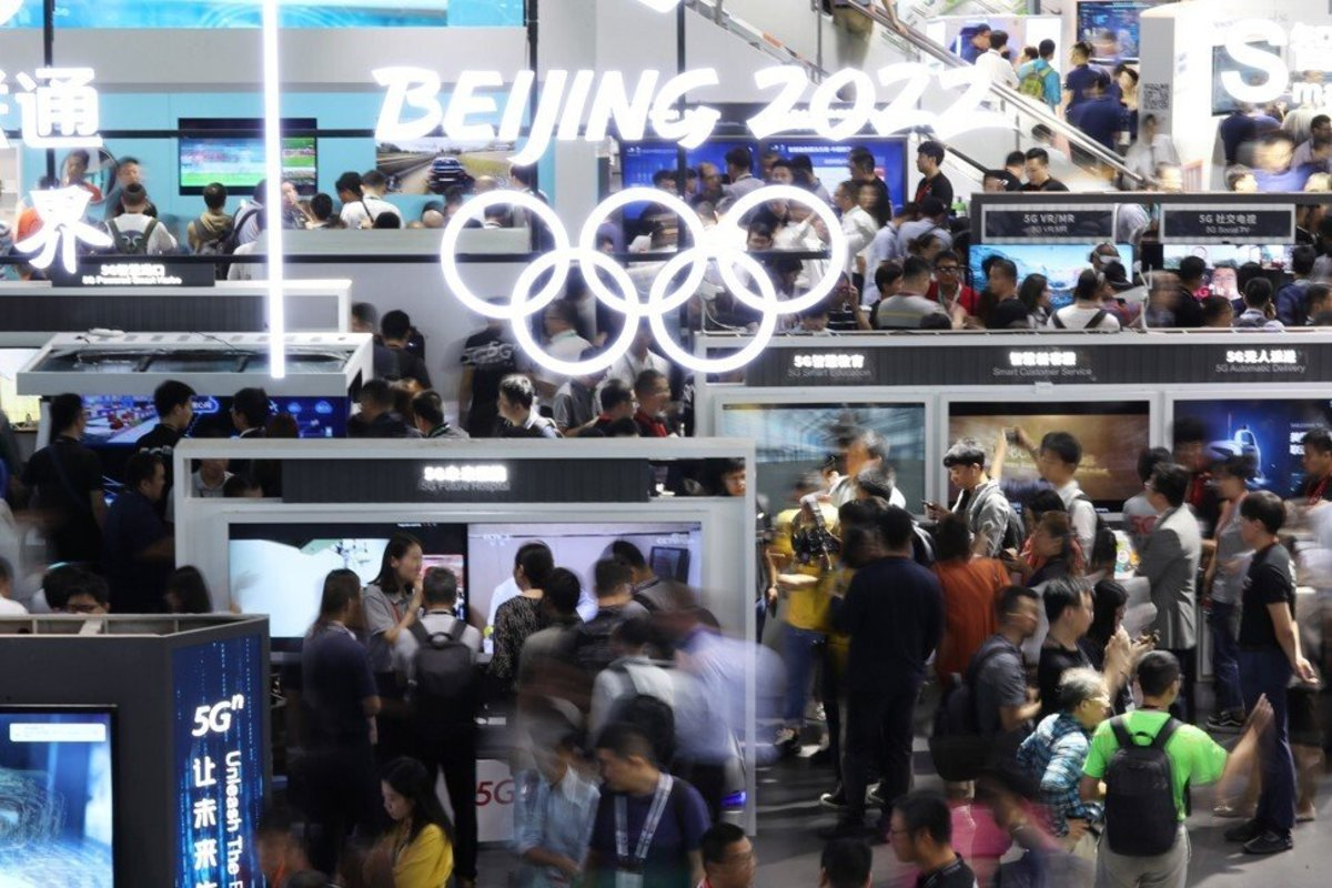 The GSMA's MWC Shanghai trade show in June 2019 also cross-promoted the 2022 Winter Olympics in Beijing. Photo: Getty Images