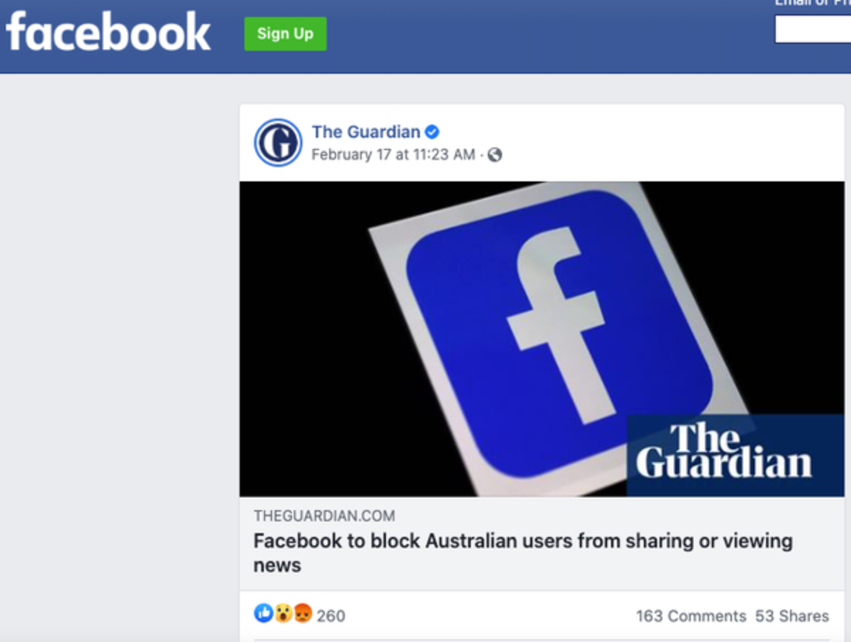 A Facebook post often includes key news content – not just a link. The Conversation screenshot of the Guardian's Facebook page, CC BY-ND