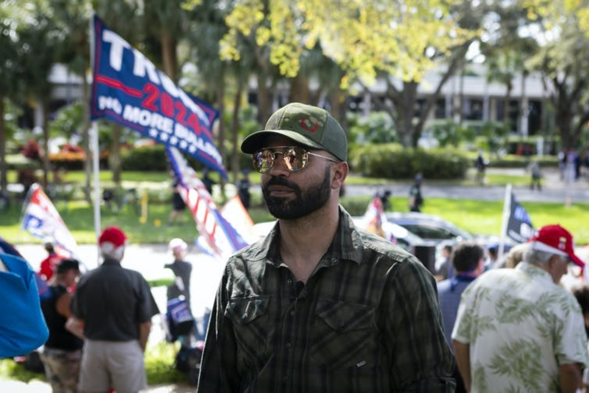 Enrique Tarrio, the national leader of the Proud Boys, outside the Conservative Political Action Conference in February. Eva Marie Uzcategui Trinkl/Anadolu Agency via Getty Images