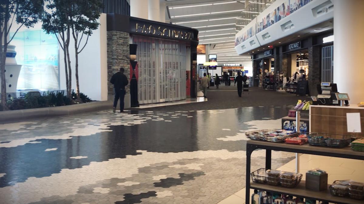 A near-empty LaGuardia airport.