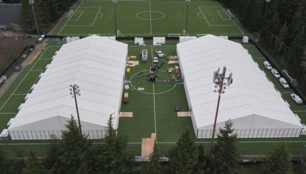 A temporary field hospital for isolating COVID-19 patients in Shoreline, Washington USA. EFE-EPA