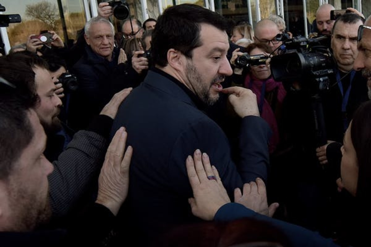 As recently as mid-February, political backers of Lega party leader Matteo Salvini were gathered around, touching him to show their support. Simona Granati – Corbis/Getty Images
