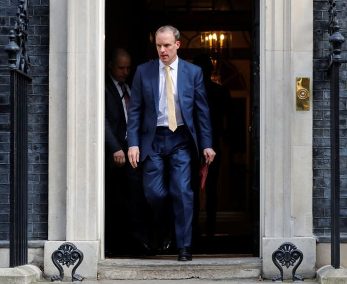 Foreign Secretary Dominic Raab is standing in for Prime Minister Boris Johnson, at least for now. Tolga Akmen/AFP via Getty Images
