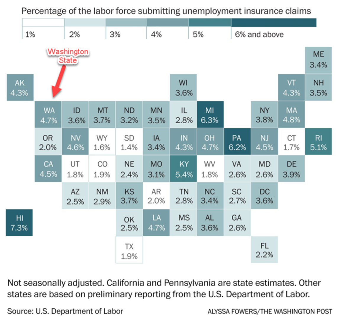U.S. unemployment insurance claims as a percentage of labor force