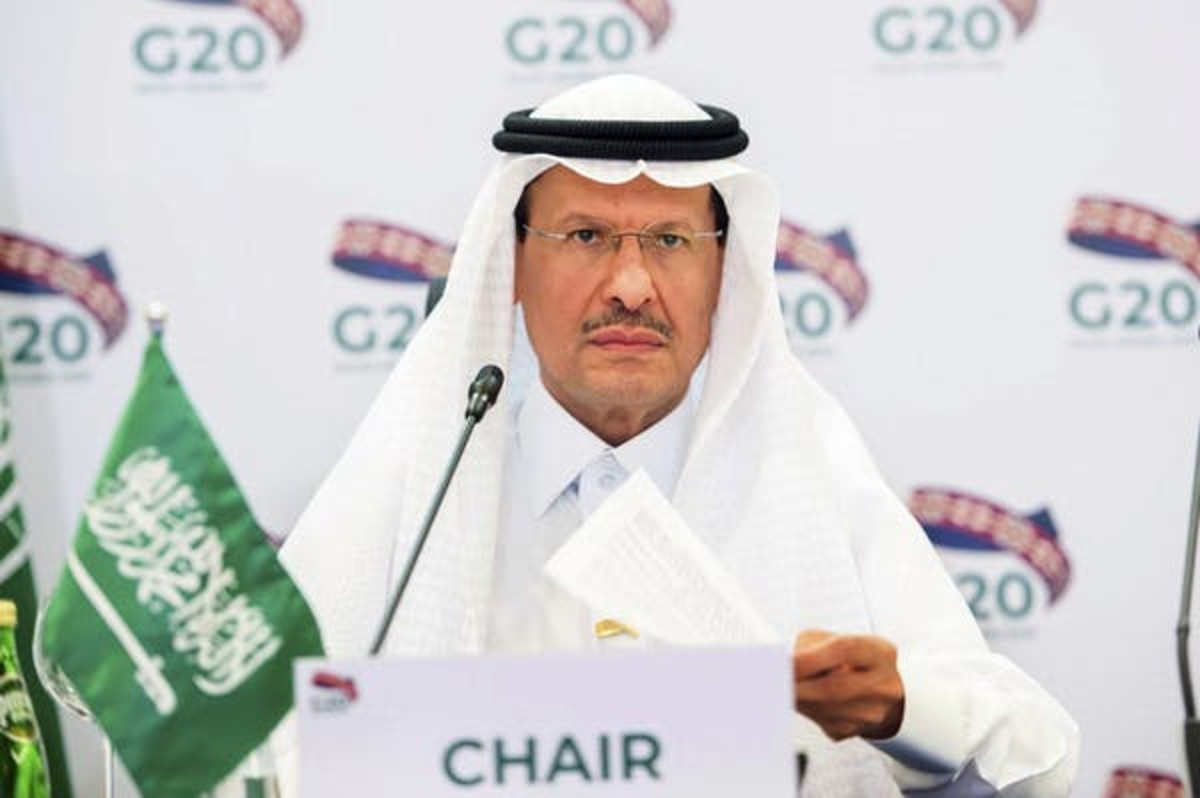 Prince Abdulaziz bin Salman Al-Saud, Saudi Arabia's energy minister, leads a recent virtual summit of the G20 energy ministers at his office in Riyadh, Saudi Arabia. (Saudi Energy Ministry via AP)