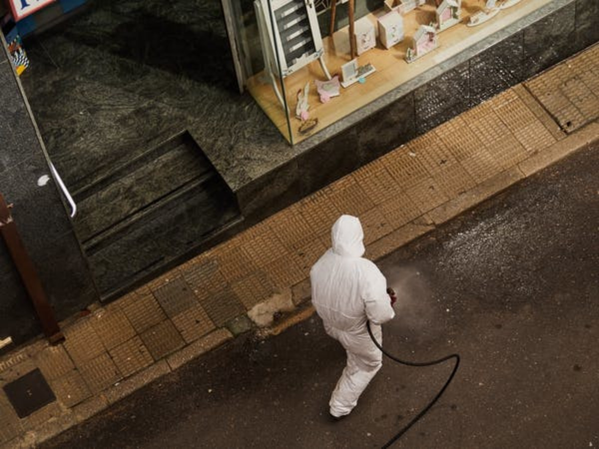 A Spanish street is disinfected due to the coronavirus outbreak. (Unsplash)