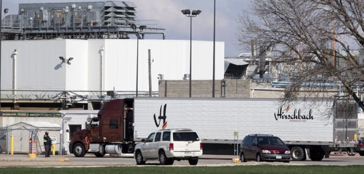 Meat plants across North America have closed; some for deep cleaning and some because of new coronavirus cases. Here Tyson Fresh Meats' beef processing complex in Dakota City, Neb. (Tim Hynds/Sioux City Journal via AP)