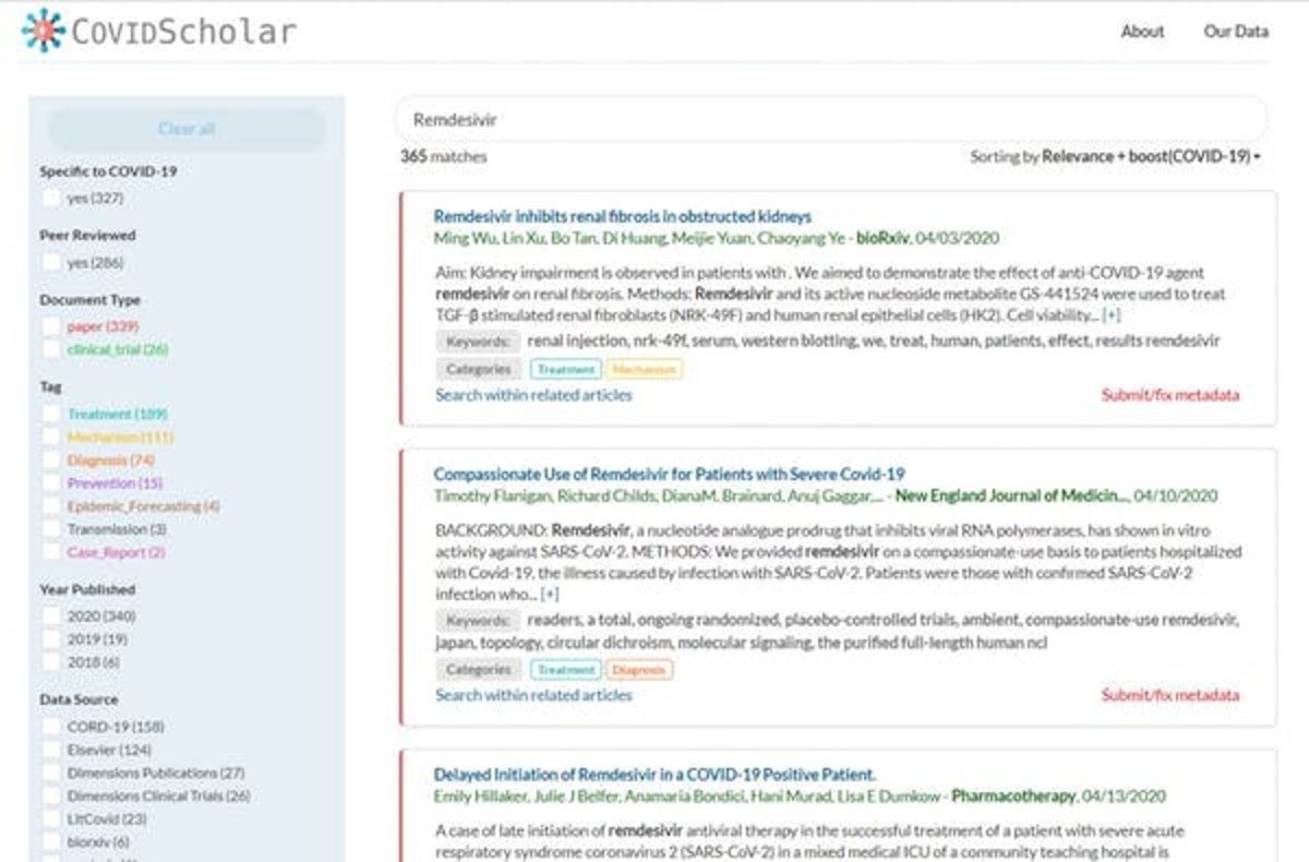 COVIDScholar is a search engine with machine learning algorithms under the hood. Screen capture by The Conversation