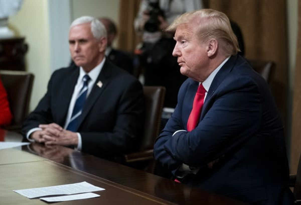 US President Donald Trump, right, with Vice President Mike Pence. The US response to coronavirus has been criticised as too slow. Doug Mills/EPA