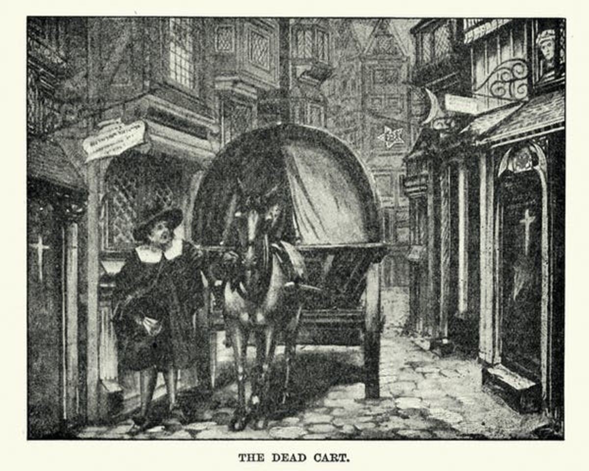 Vintage engraving of a dead cart collecting the bodies of plague victims during the last Great Plague of London, which extended from 1665 to 1666. duncan1890/ Getty Images