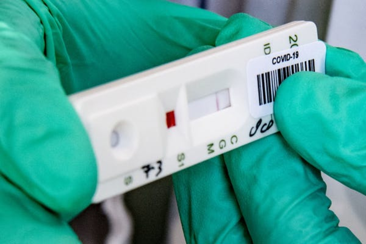 In the Netherlands, this strip tests blood samples for antibodies against the coronavirus. Right now the test costs 70 euros. Robin Utretcht/SOPA Images/LightRocket via Getty Images, CC BY-SA