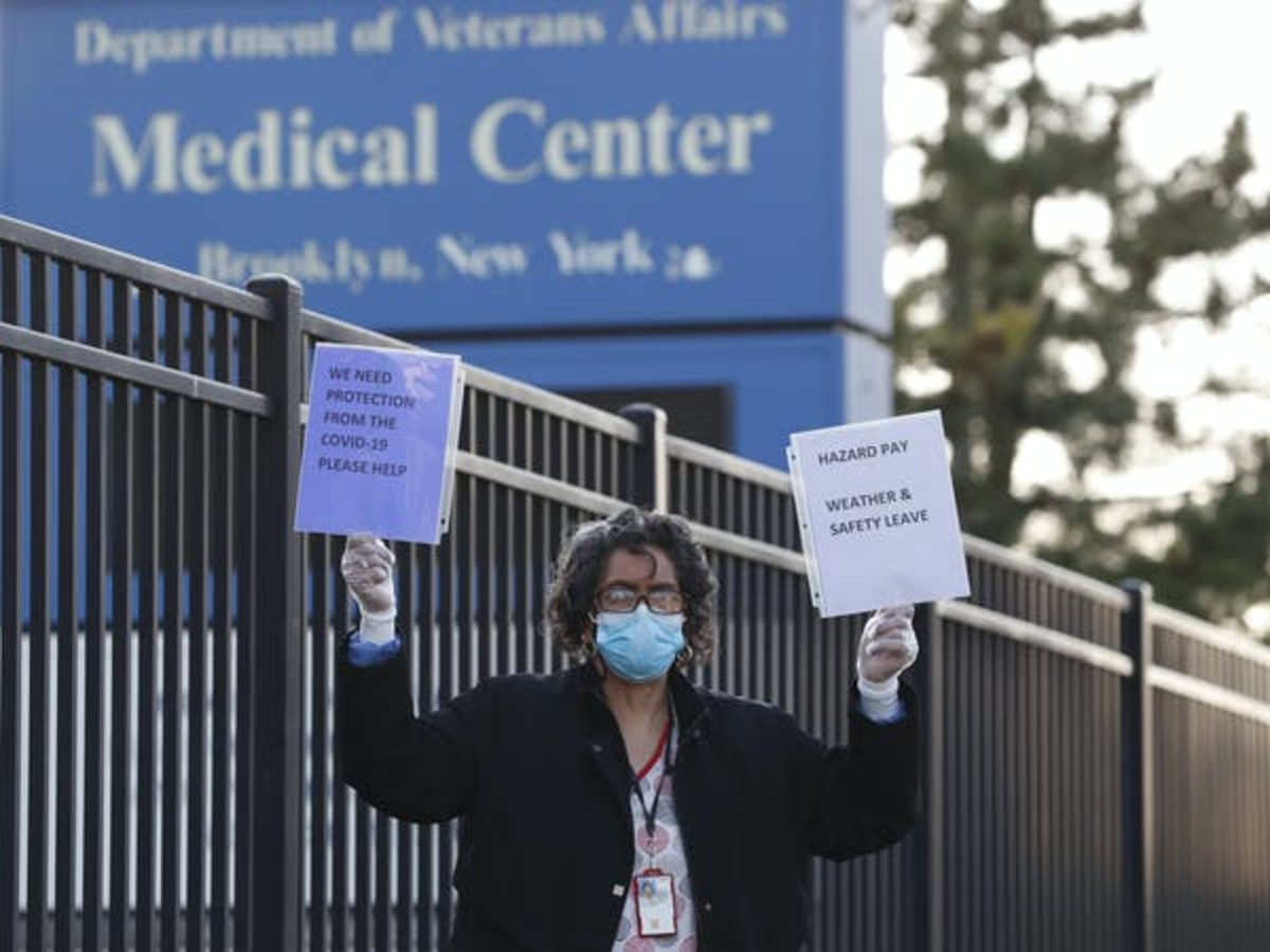 VA hospitals across the country are short-staffed and don't have the resources they need to protect their workers. AP/Kathy Willens