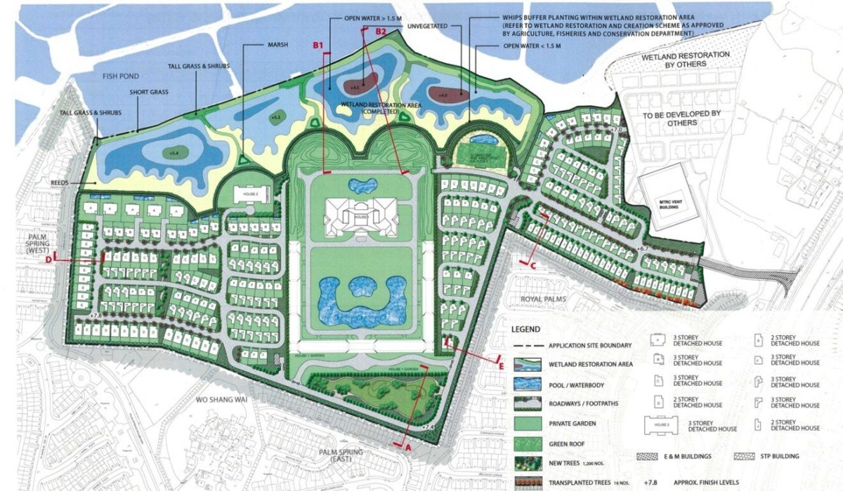 Evergrande's application for comprehensive development includes the wetland restoration area at Won Shang Was, Yuen Long. Photo: Handout