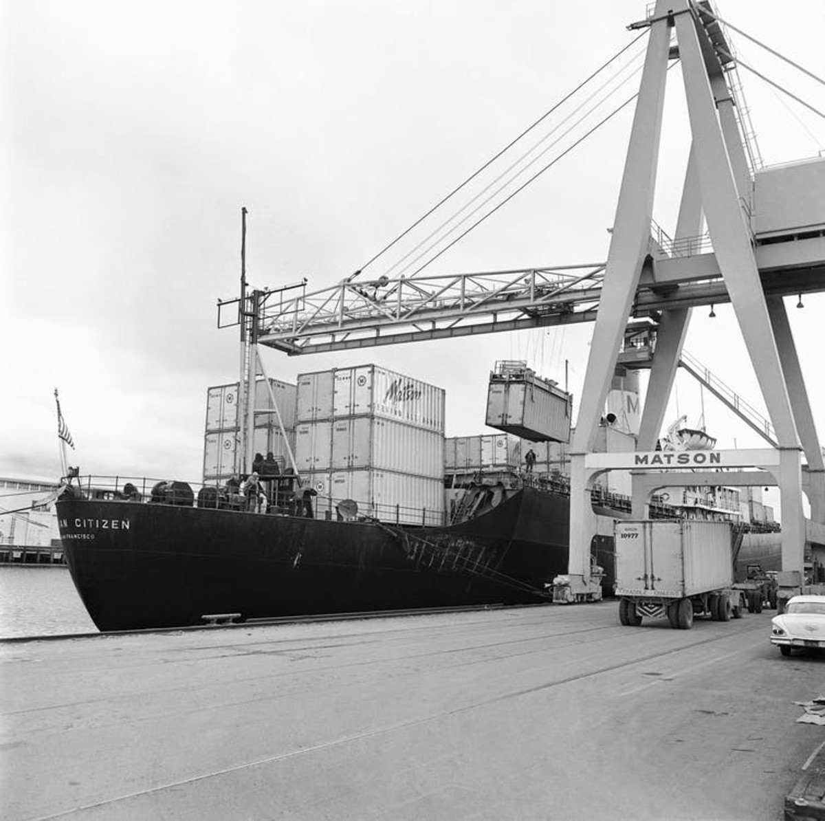 The Matson Hawaiian Citizen was one of the first ships converted into a container vessel, seen here at a San Francisco pier in 1963. AP Photo