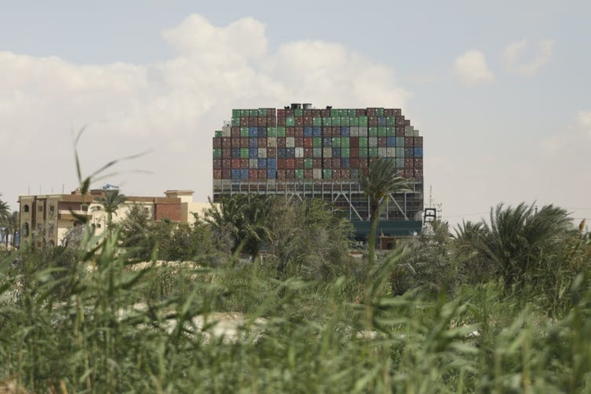 The Ever Given was loaded with over 18,000 containers. AP Photo/Mohamed Elshahed