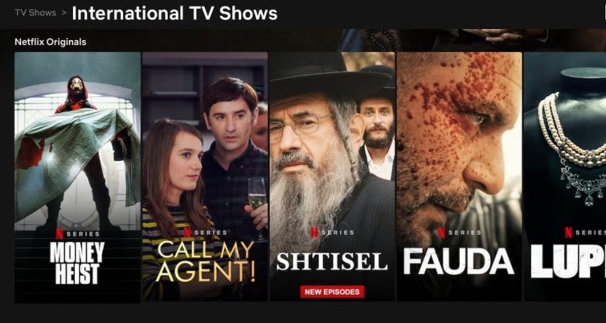 A snippet of Netflix's international lineup on April 2, 2021. Screenshot, Netflix.com