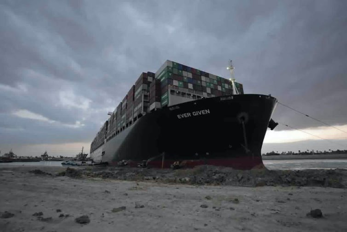 The Ever Given was stuck for nearly a week, snarling global supply chains. Suez Canal Authority via AP