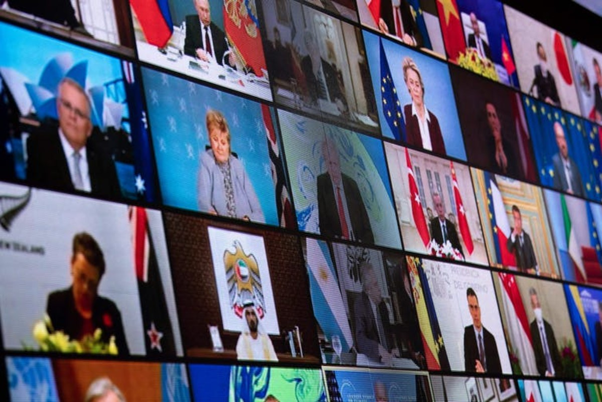 Forty world leaders attended the climate summit by video on April 22, 2021. Brendan Smialowski/AFP via Getty Images