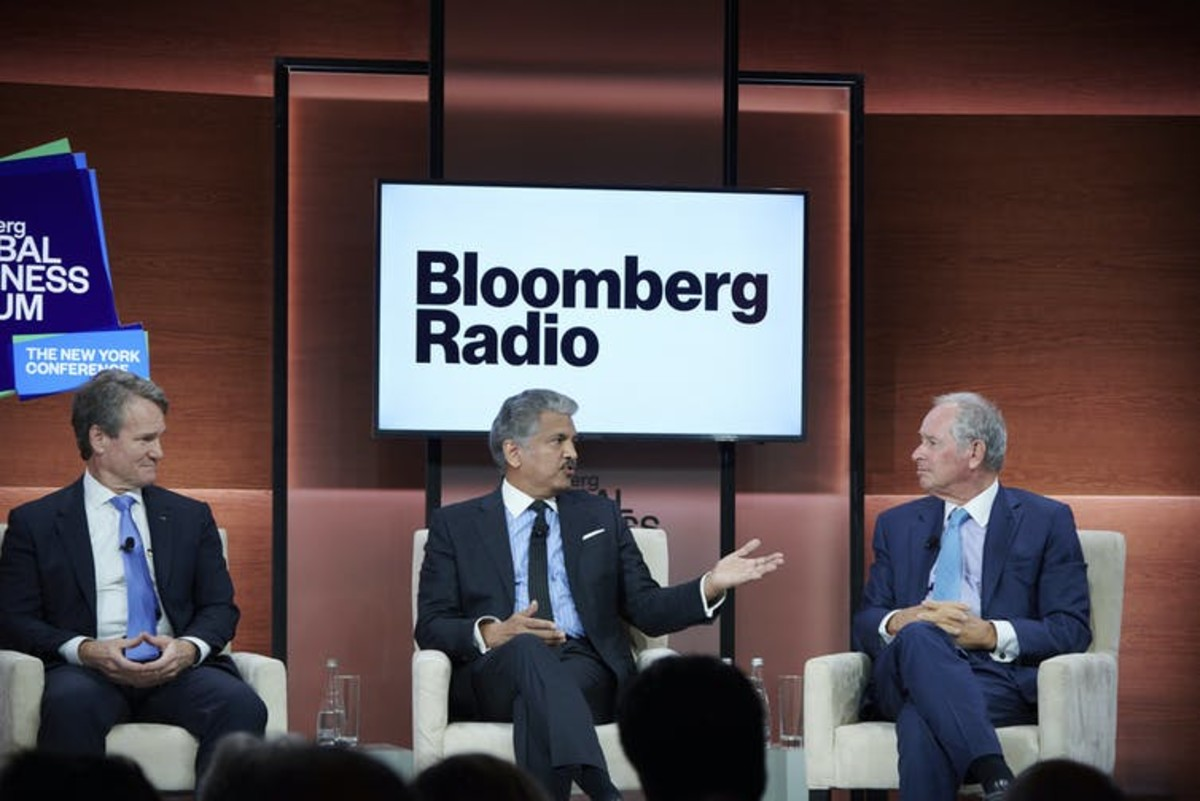 Bank of America CEO Brian Moynihan, left, has said companies need to 'do what's right.' Loren Matthew/AP Images for Bloomberg Global Business Forum