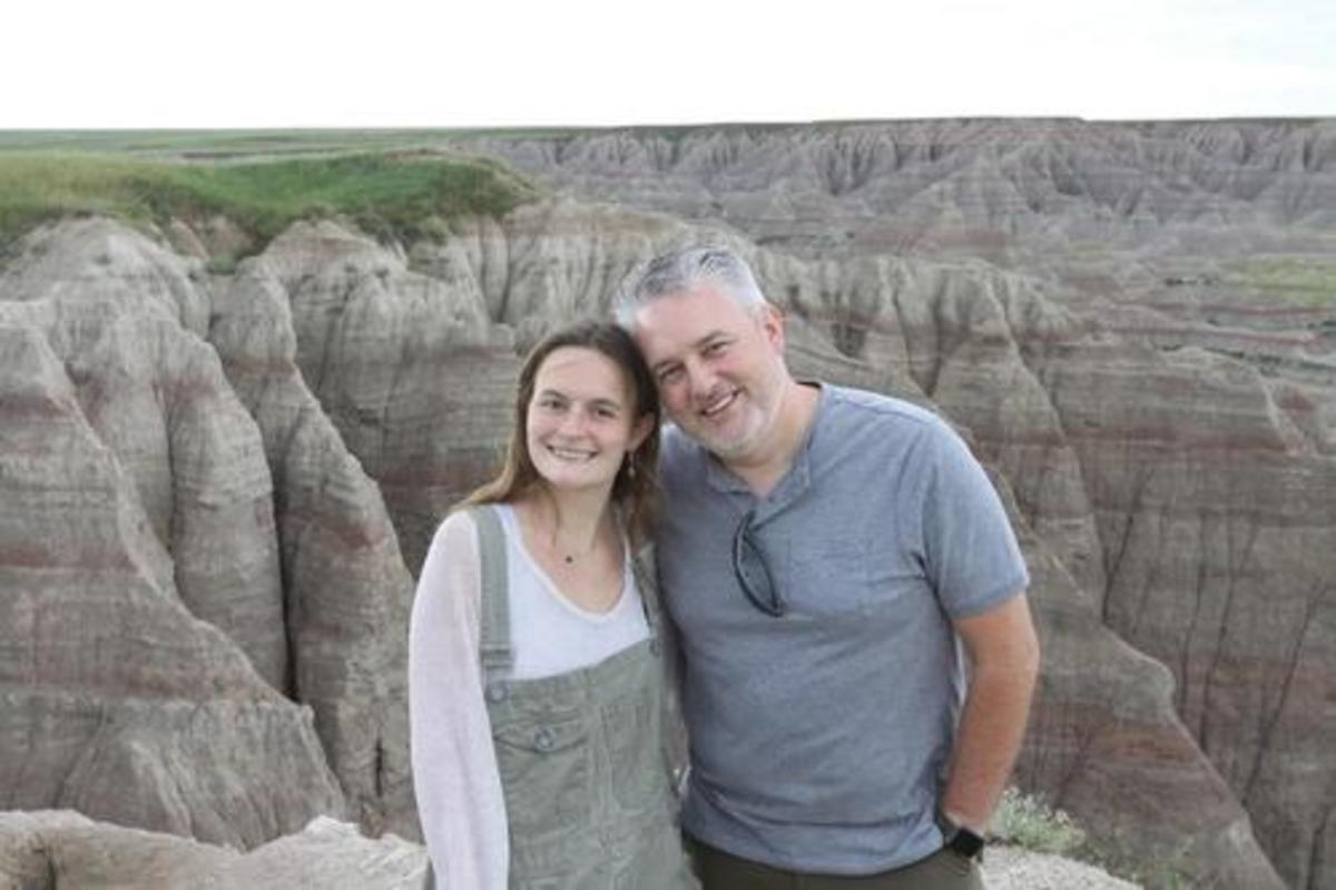 Zoë Roth and her father, Dave, in Badlands National Park in 2019.Credit…The Roth Family