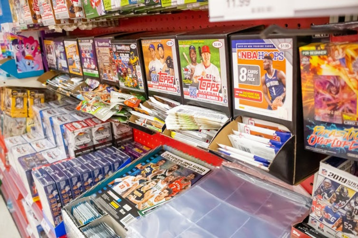 Sports trading cards for sale in a department store in California. TonelsonProductions/Shutterstock