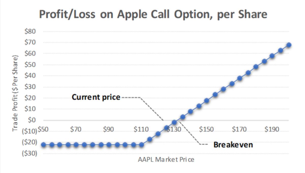 Figure 2: Profit/Loss on Apple call option, per share.