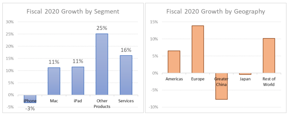 Figure 3: Fiscal 2020 growth by segment and geography.