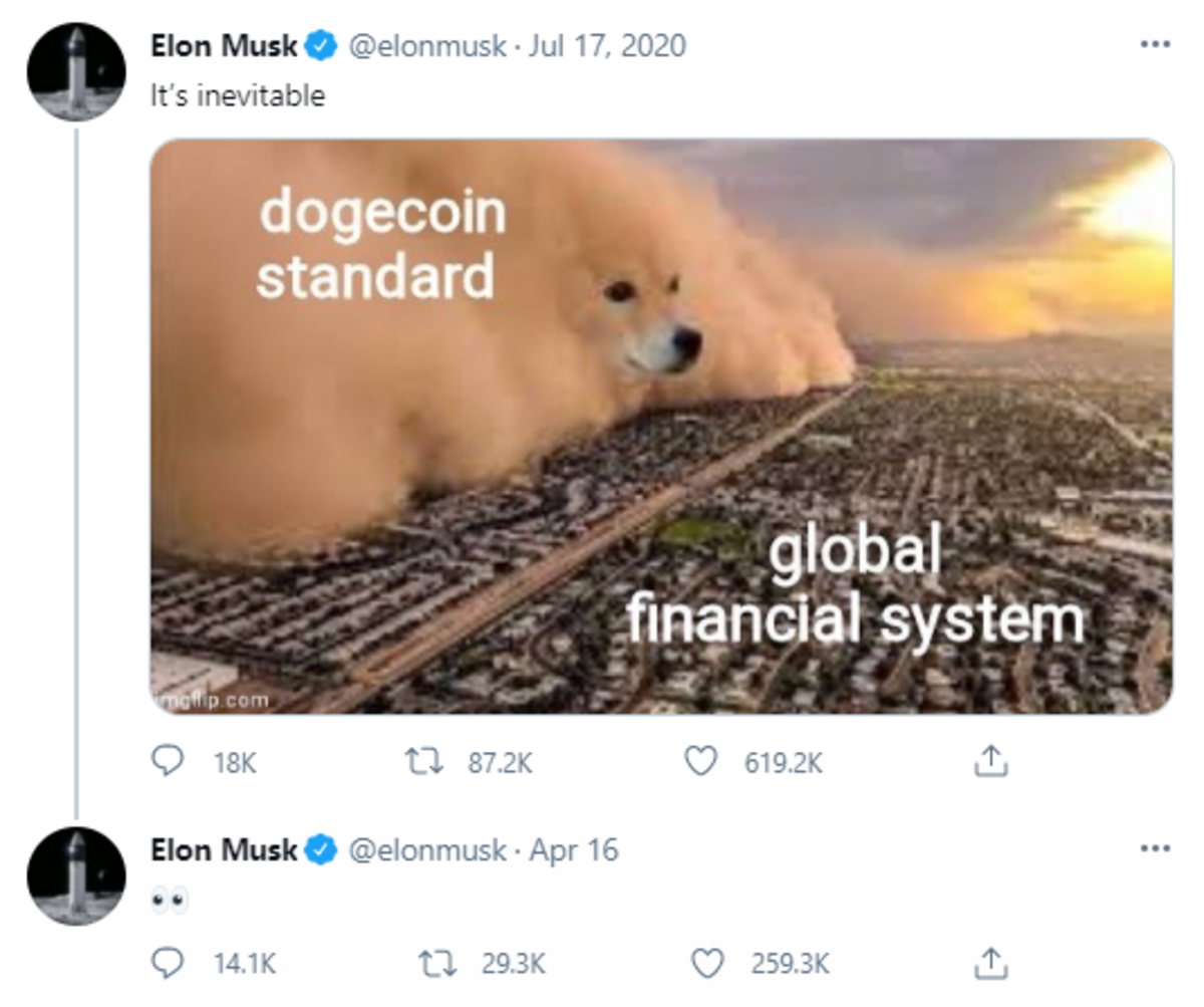 Elon Musk's Bitcoin and Dogecoin Tweets A Timeline   The Street ...