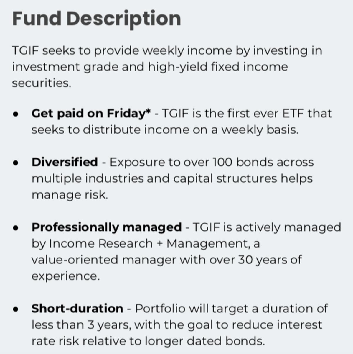 SoFi Weekly Income ETF (TGIF)